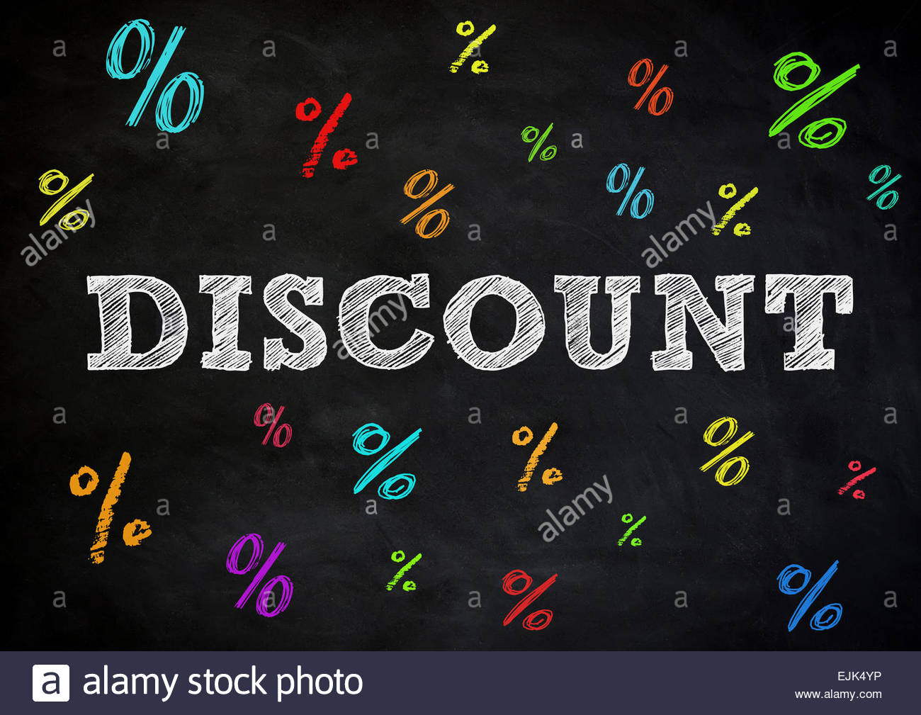 Discount - chalkboard concept - Stock Image