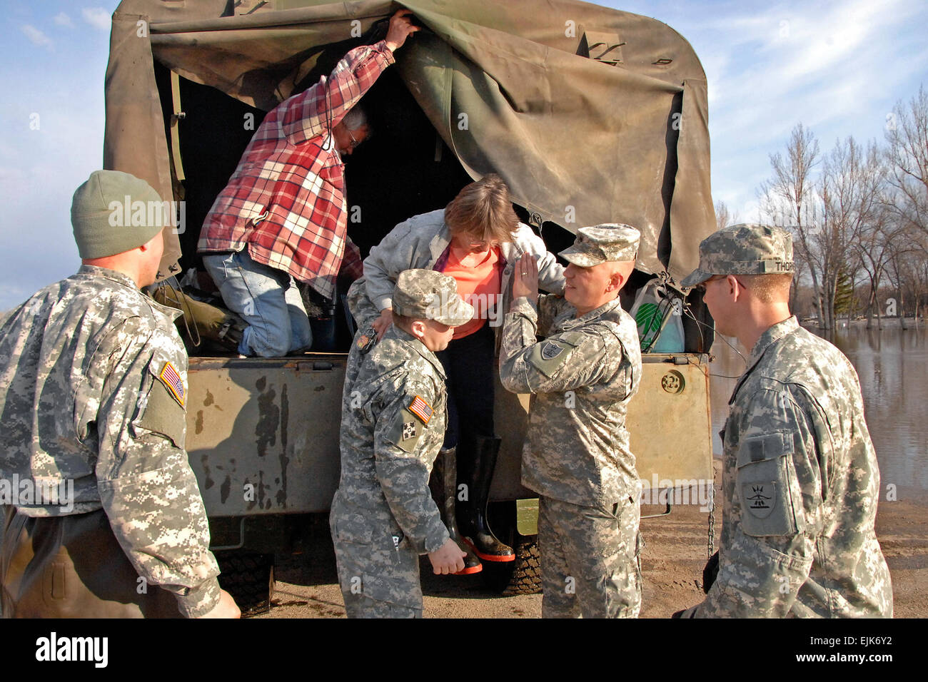 North Dakota National Guard soldiers evacuated a campground site as they help fight flooding in Minot, N.D., April - Stock Image