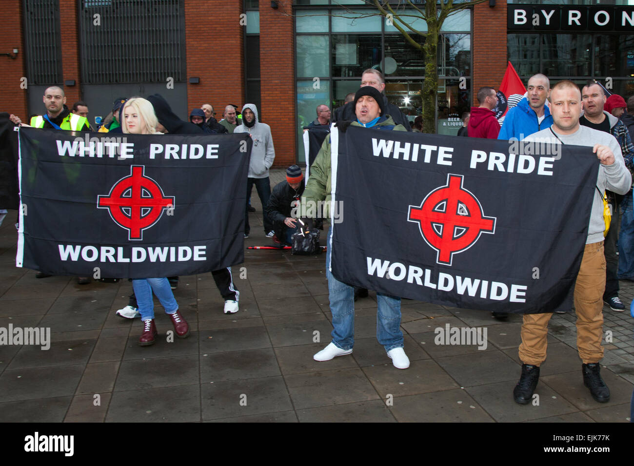 Manchester, UK 28th March, 2015. Demonstrators at the National Front neo-nazi rally & White Pride Worldwide Demo Stock Photo