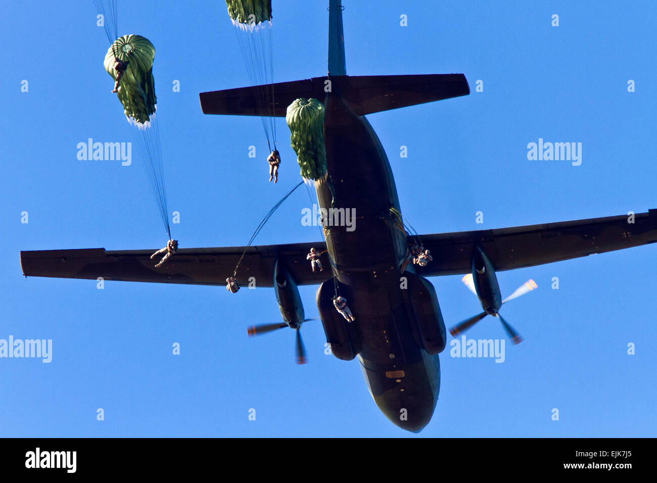 Paratroopers with the 82nd Airborne Division exit a German C-160 aircraft over Sicily Drop Zone on Fort Bragg, N.C., - Stock Image