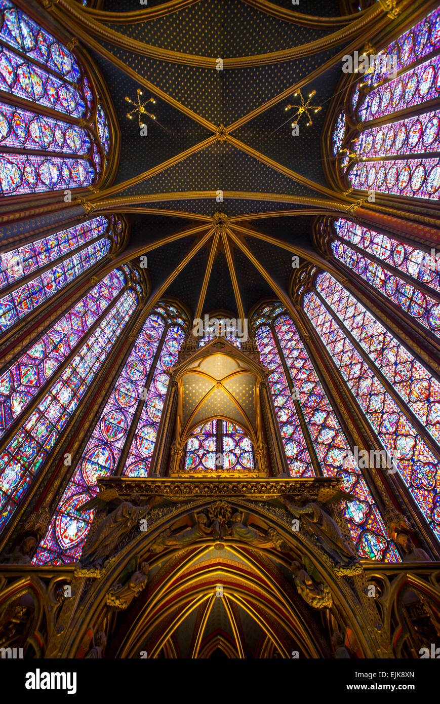 Stained glass windows of Sainte Chapelle, Paris, France - Stock Image