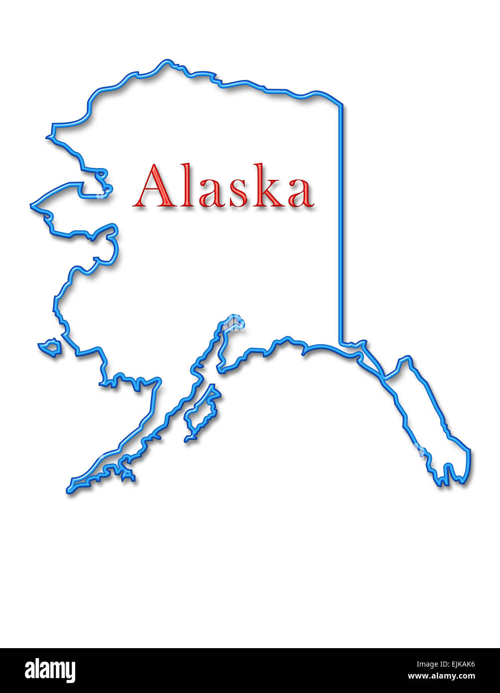 Alaska Map With Neon Blue Outline And Red Lettering Stock Photo