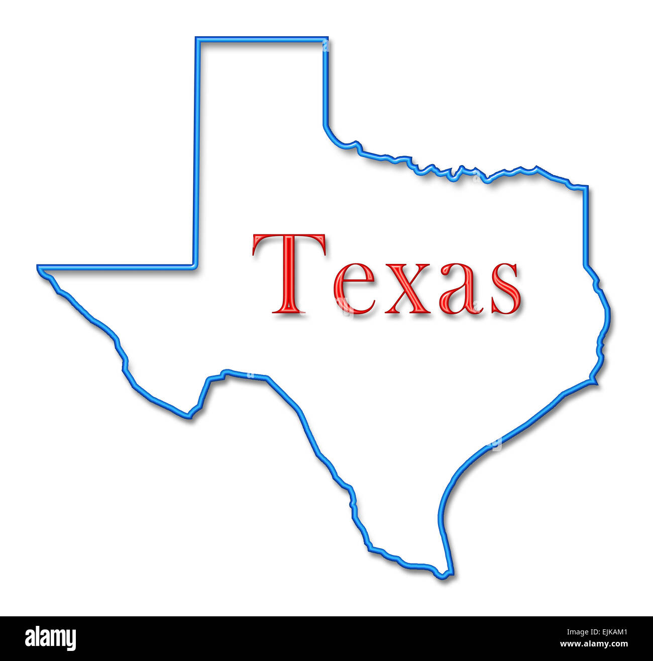 Outline Of Texas Map.Texas Map With Neon Blue Outline And Red Lettering Stock Photo