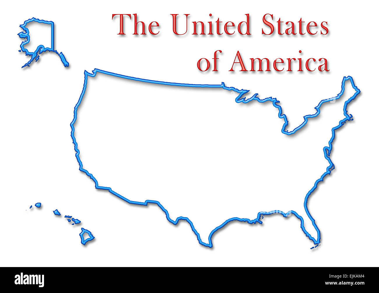 Us Map Blue Red States.The United States Of America Map With Neon Blue Outline And Red