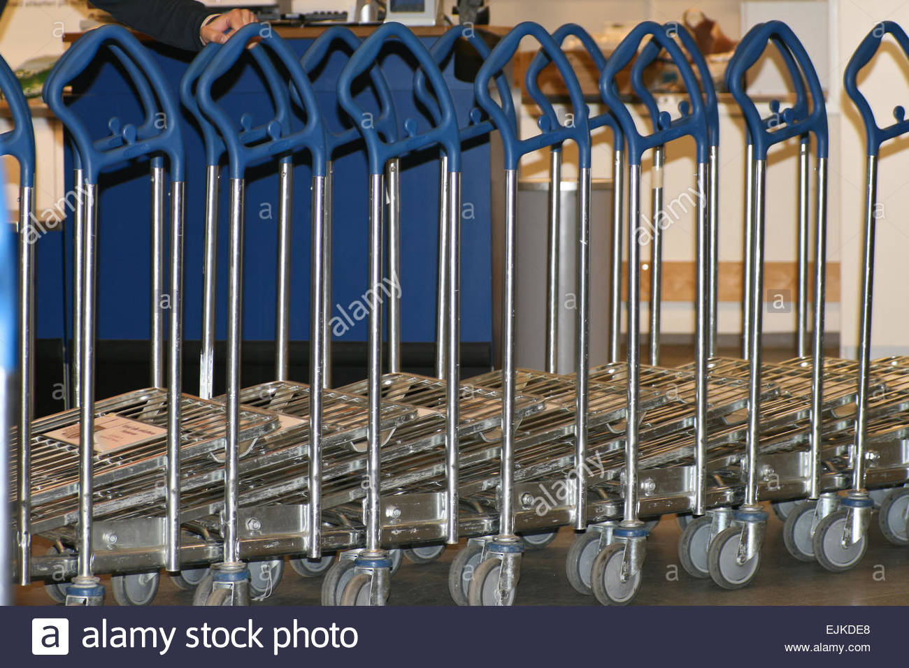 Supermarket trolleys for buyers - Stock Image