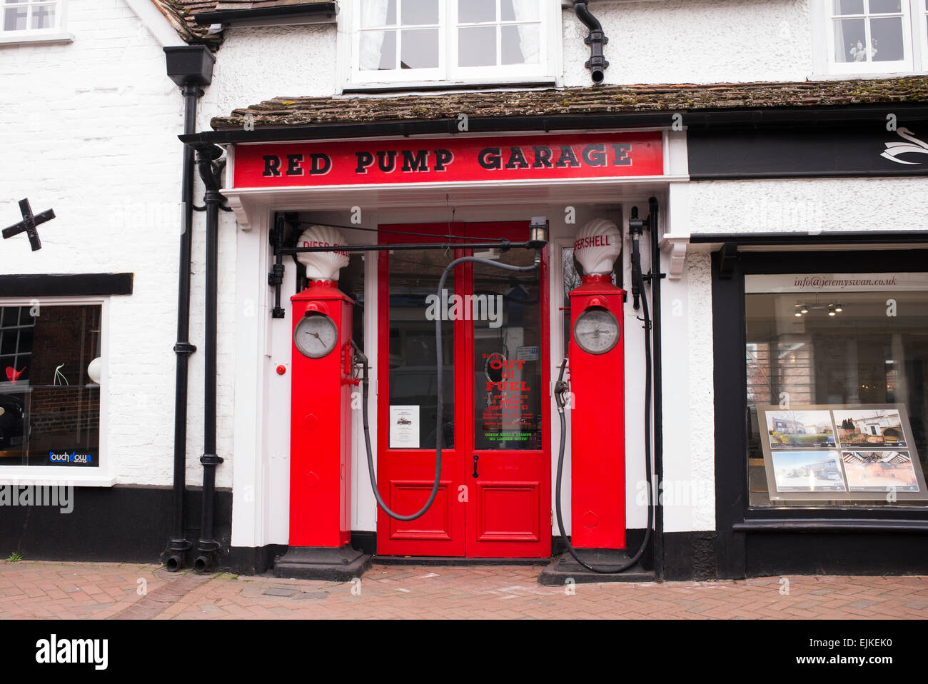 Red Pump Garage. Great Missenden, Buckinghamshire, England. Inspiration for the garage in Danny, The Champion of - Stock Image