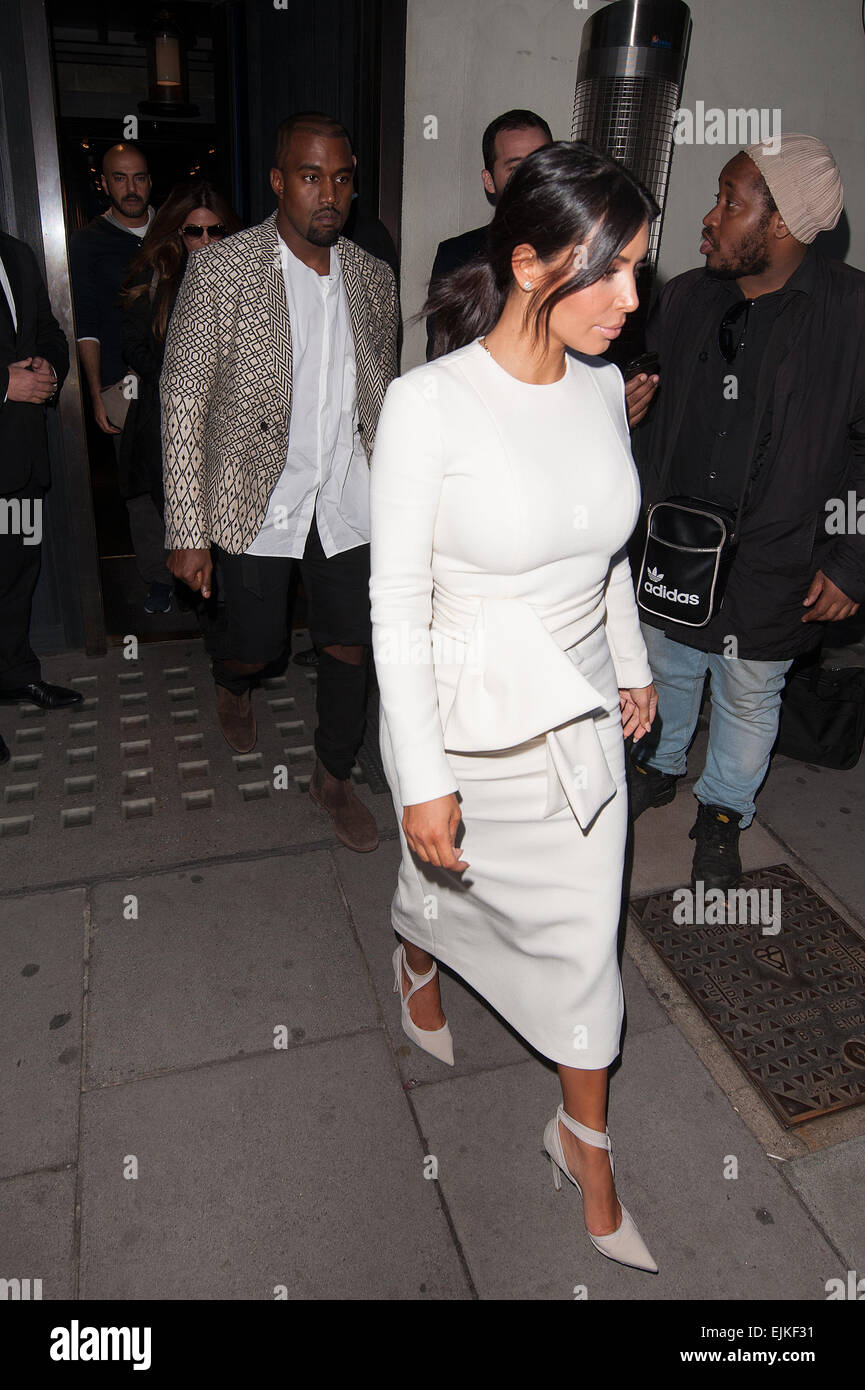 fba2948f Kim Kardashian and Kanye West leave Hakkasan restaurant in Central London.  Featuring: Kim Kardashian