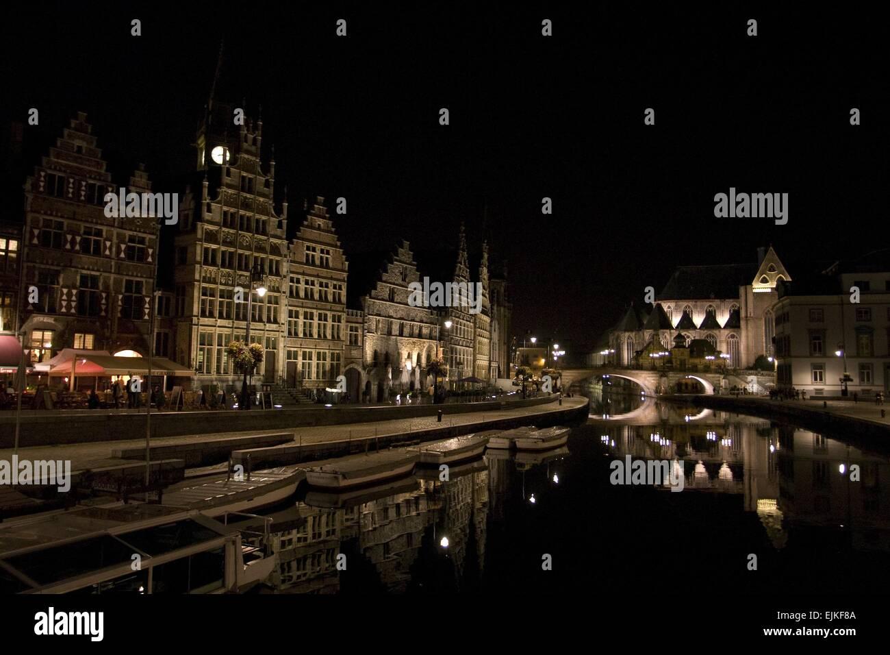 Belgium at night Stock Photo