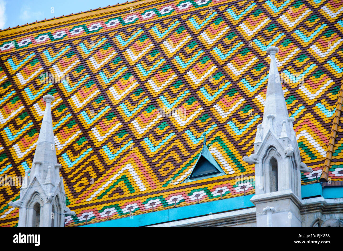 Colourful roof tiles of the Market Hall, Budapest Stock Photo