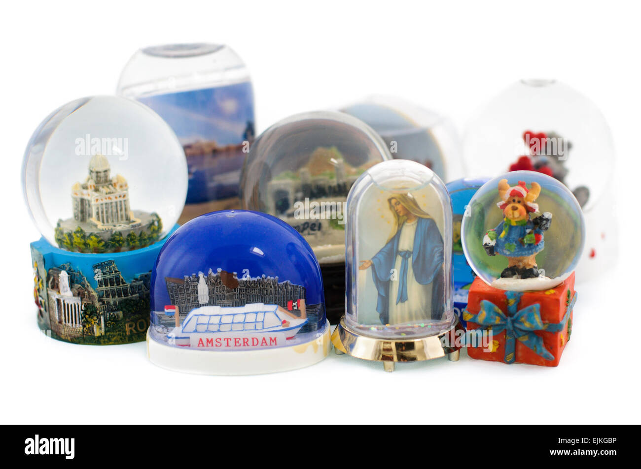Snowglobe souvenirs from various destinations Stock Photo