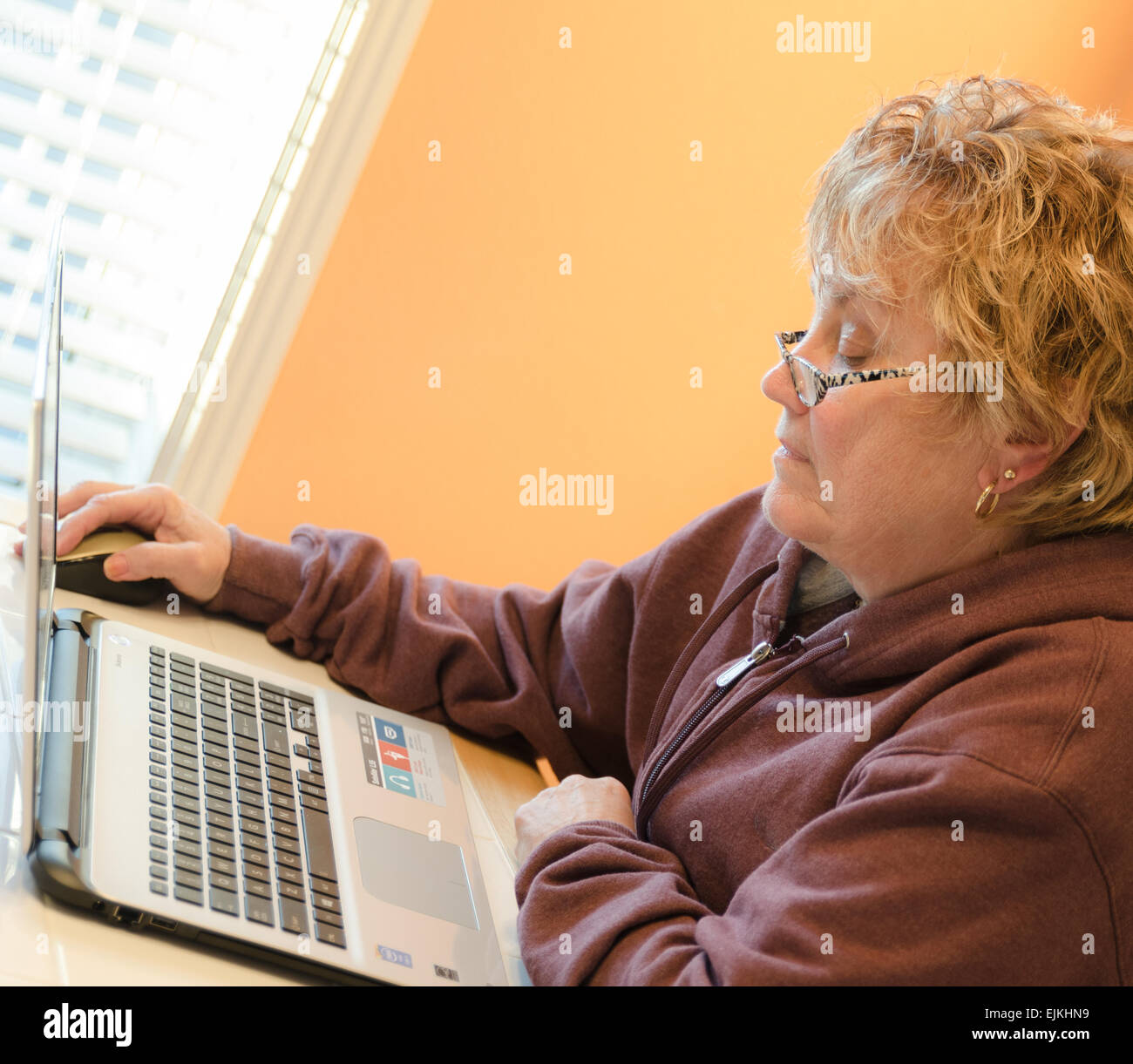 Female age 60-65 working with a laptop computer - Stock Image