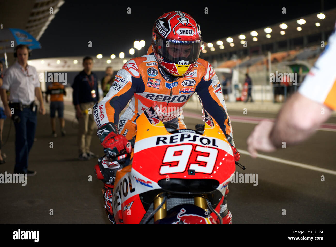 Honda Branding Stock Photos Images Alamy Camel Pit Bike Losail Circuit Qatar 28th March 2015 Repsol Rider Marc Marquez Returns To The