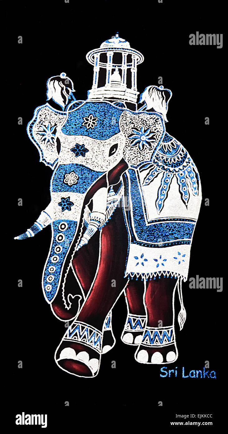 Sri Lanka Wall Art Kandy Dalada Perahera Elephant Sacred Tooth Relic Gold Silver
