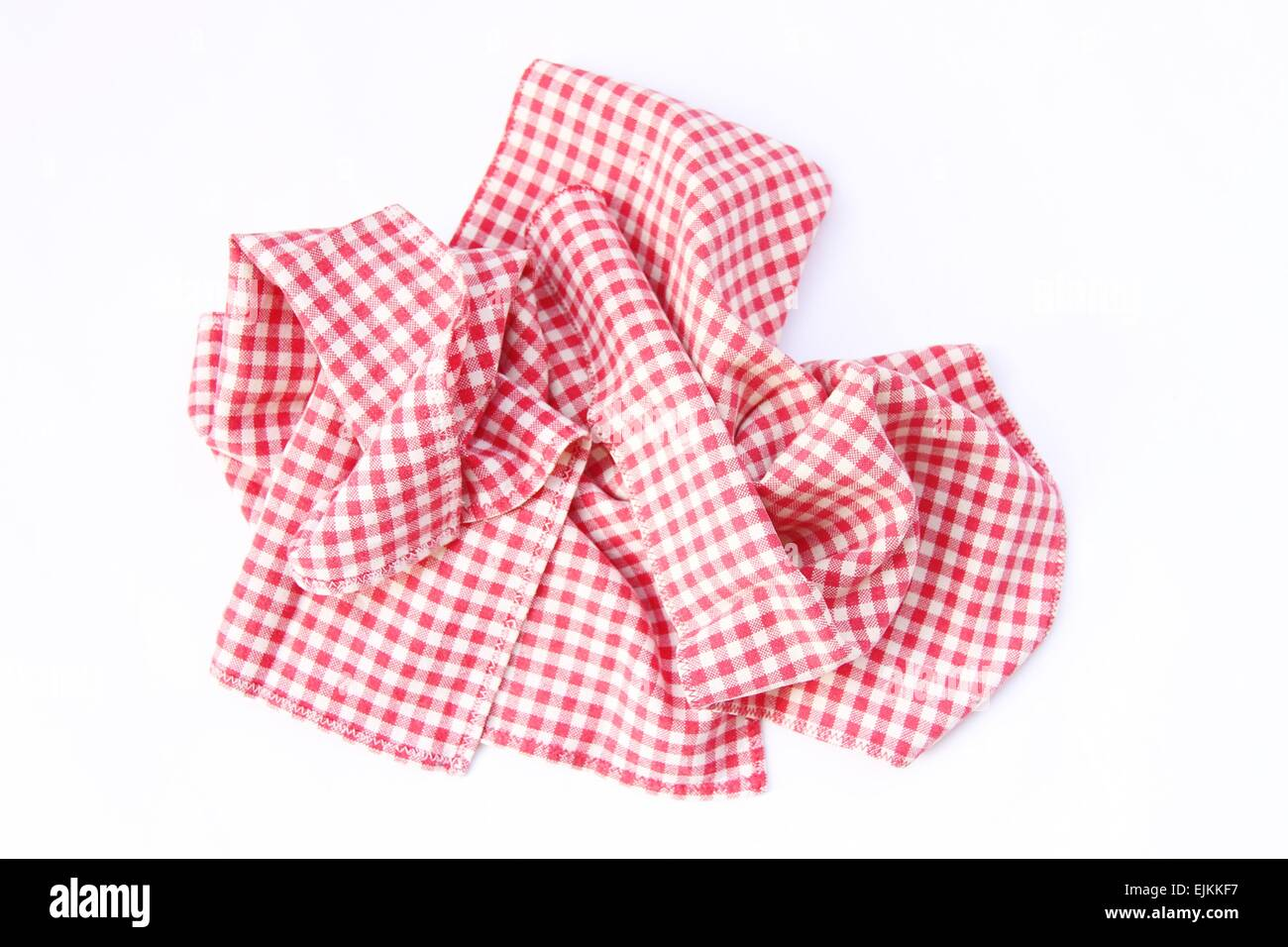 Dishcloths cotton, ruffled, in good condition 'new'. Red checkered pattern. - Stock Image