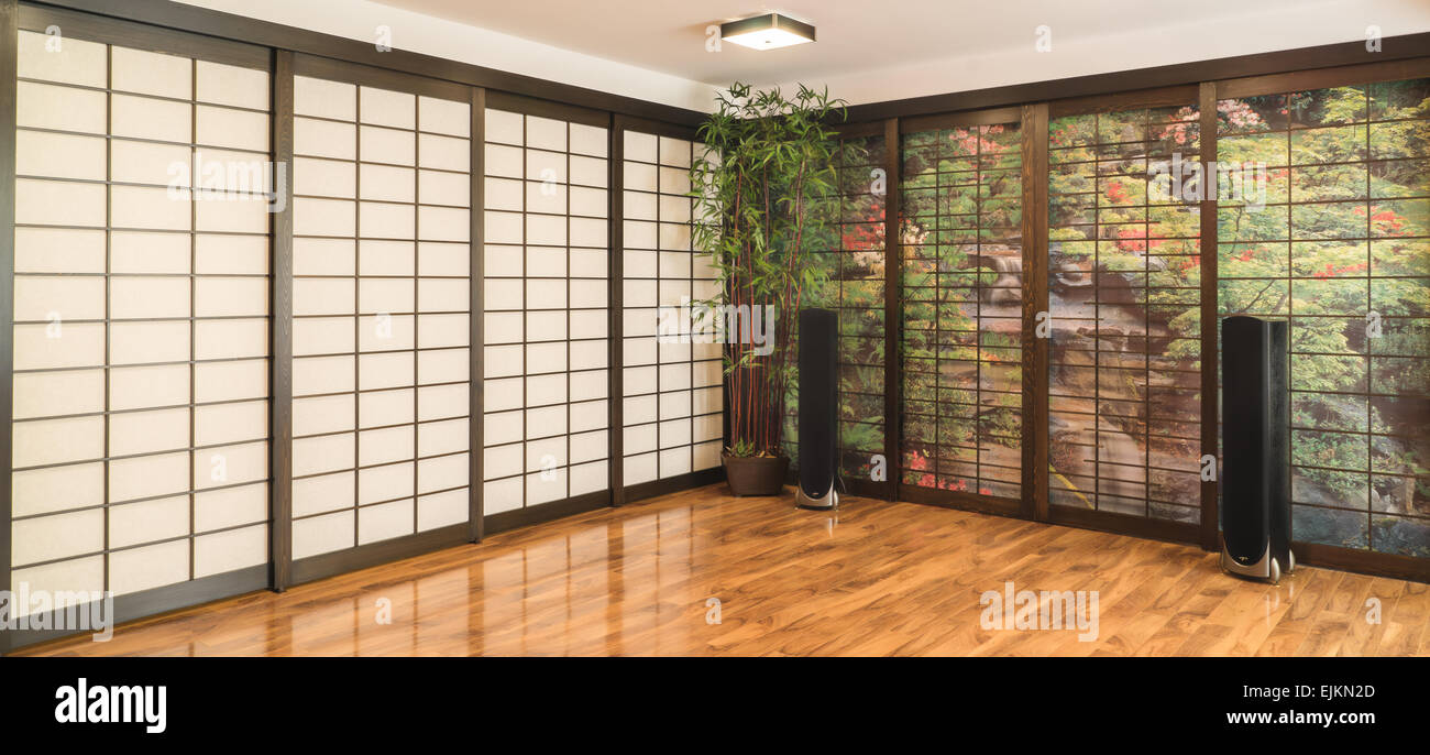 Contemporary Japanese Room with Shoji and Tower Speakers - Stock Image