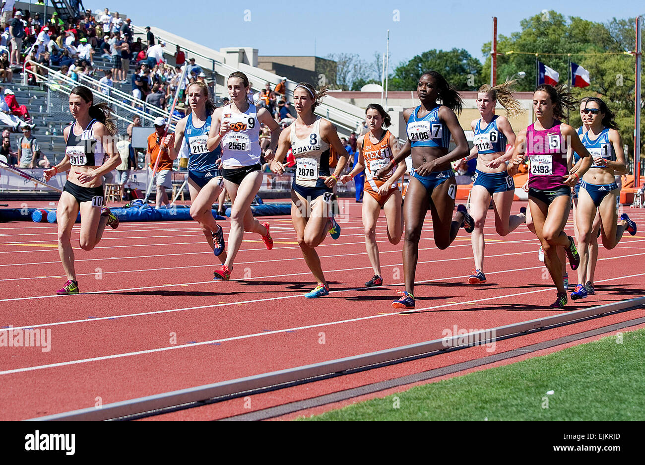 March 28, 2015: Start of the Women's 1500 Meter Run at The 88th NIKE Clyde Littlefield Texas Relays, Mike A. - Stock Image