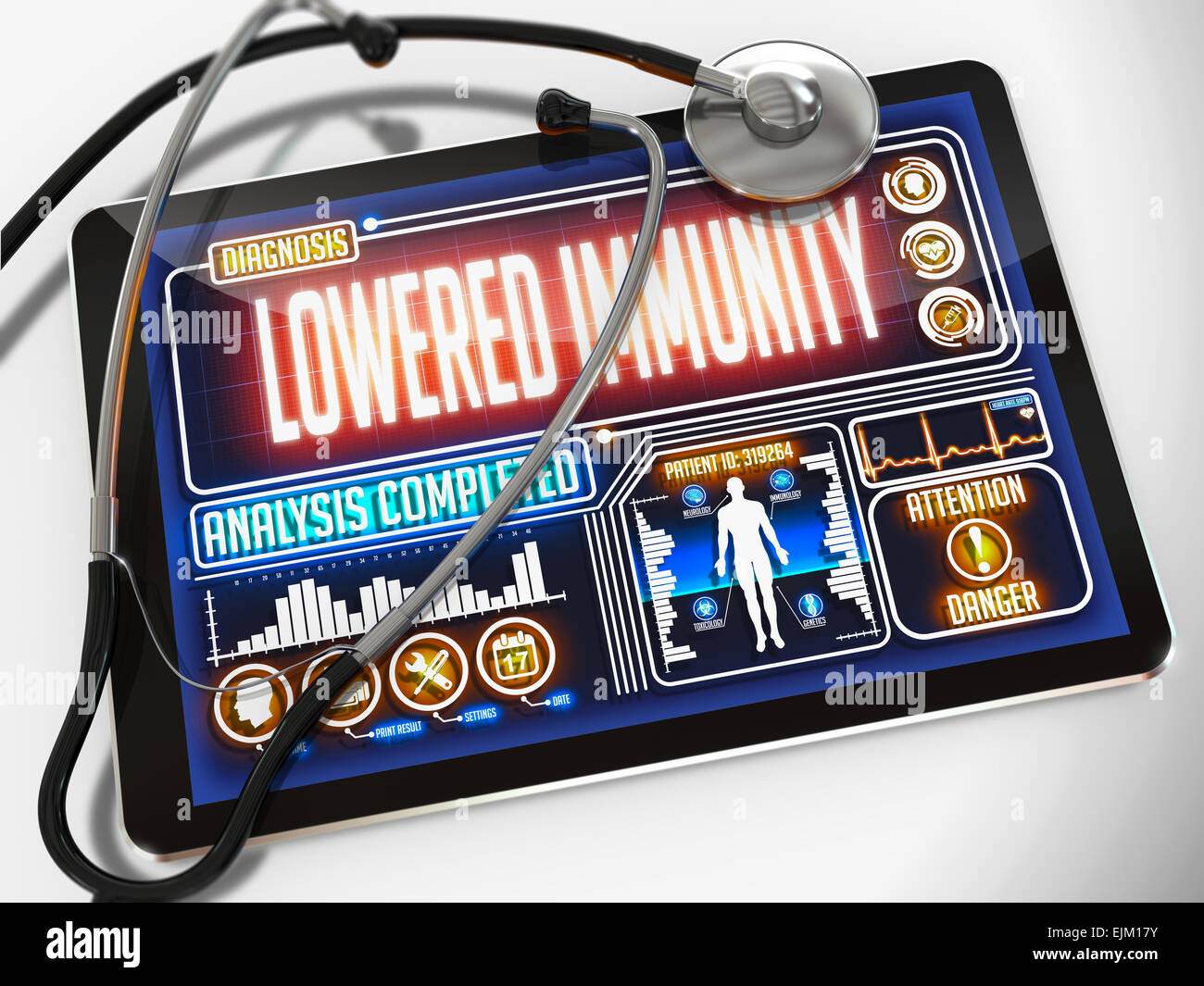 Lowered Immunity on the Display of Medical Tablet. - Stock Image