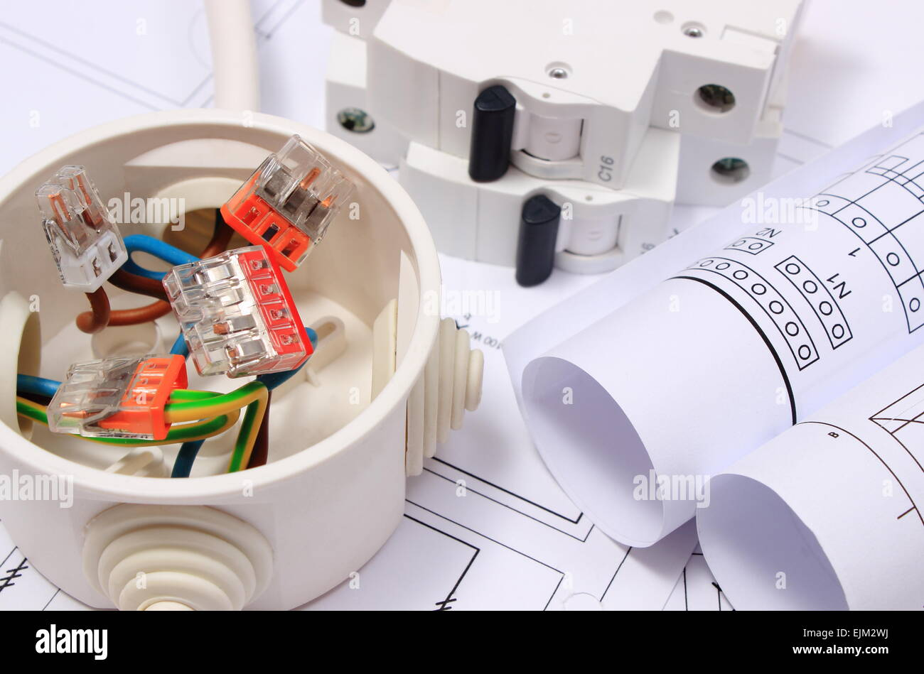 Rolls Electrical Diagrams Electric Fuse Stock Photos Wj Box Copper Wire Connections In Of And On Construction