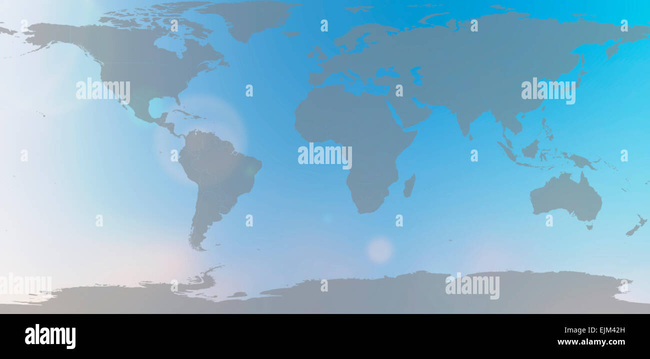 world map in blurred background sky abstract - Stock Image