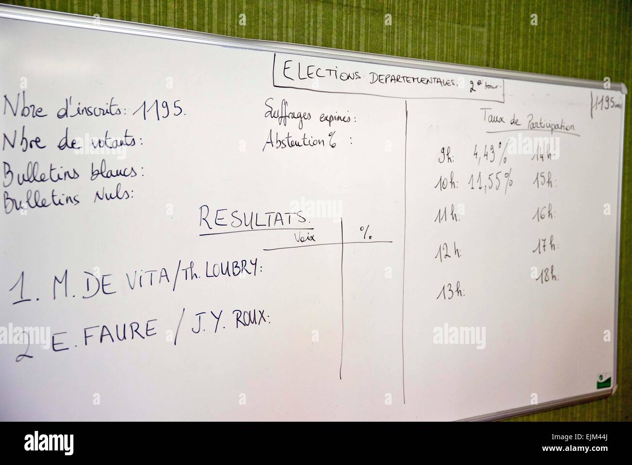 Seyne Les Alpes, France. 29th Mar, 2015. An election results board for the 2nd round of cantonal elections in the - Stock Image