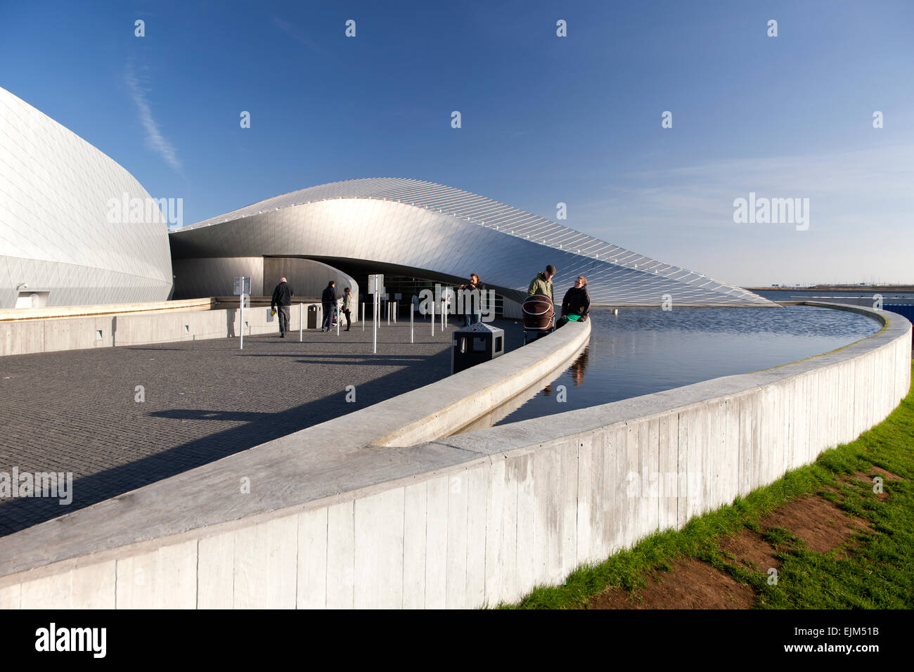 The entrance to the Blue Planet Aquarium in Copenhagen Denmark - Stock Image