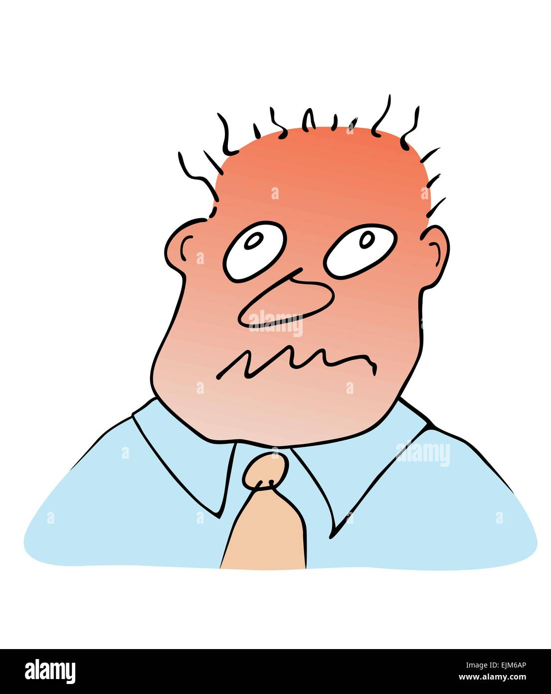 Cartoon image of the face of man - stress reaction Stock Vector