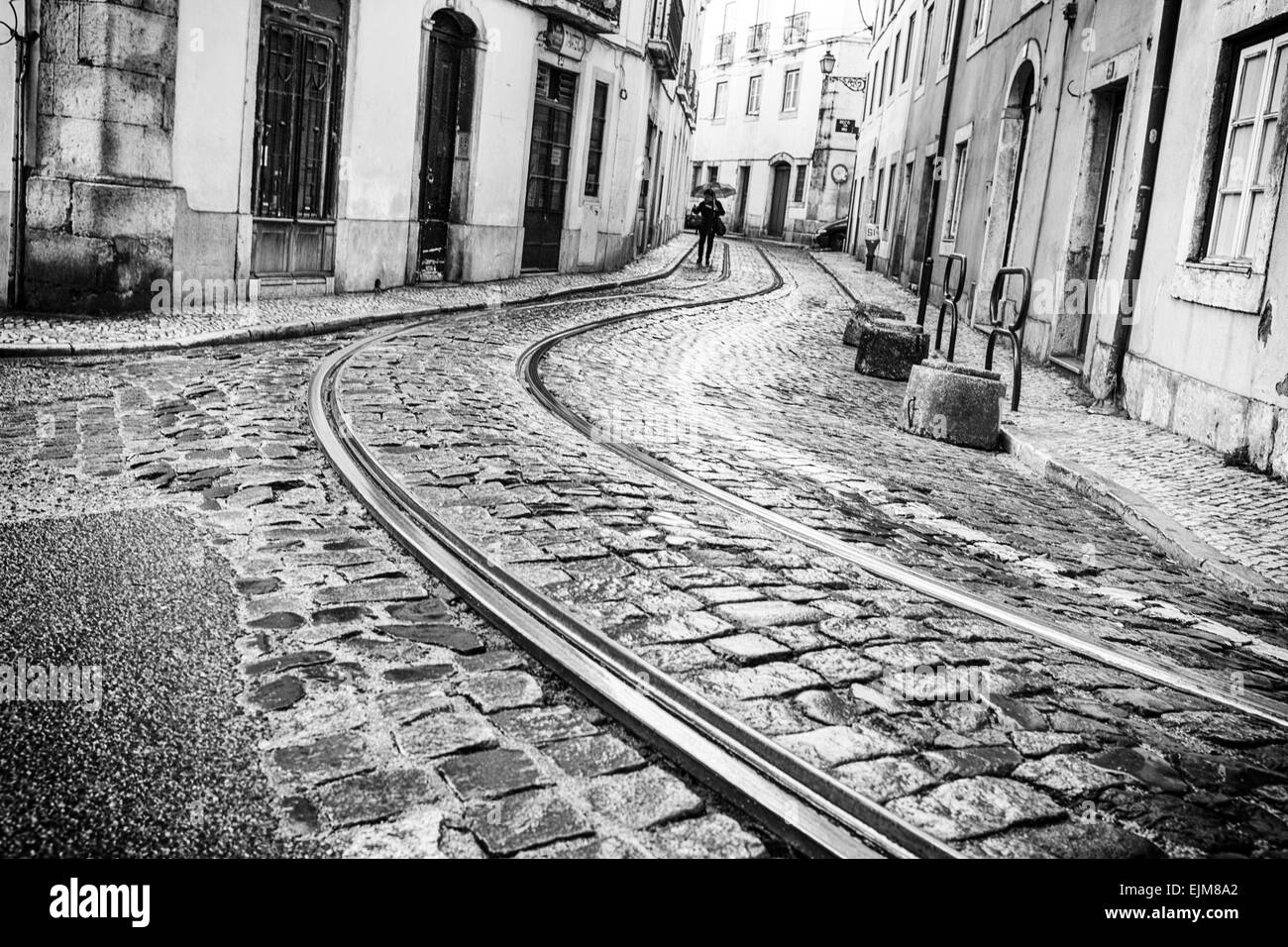 Tram tracks, Alfama, Lisbon - Stock Image