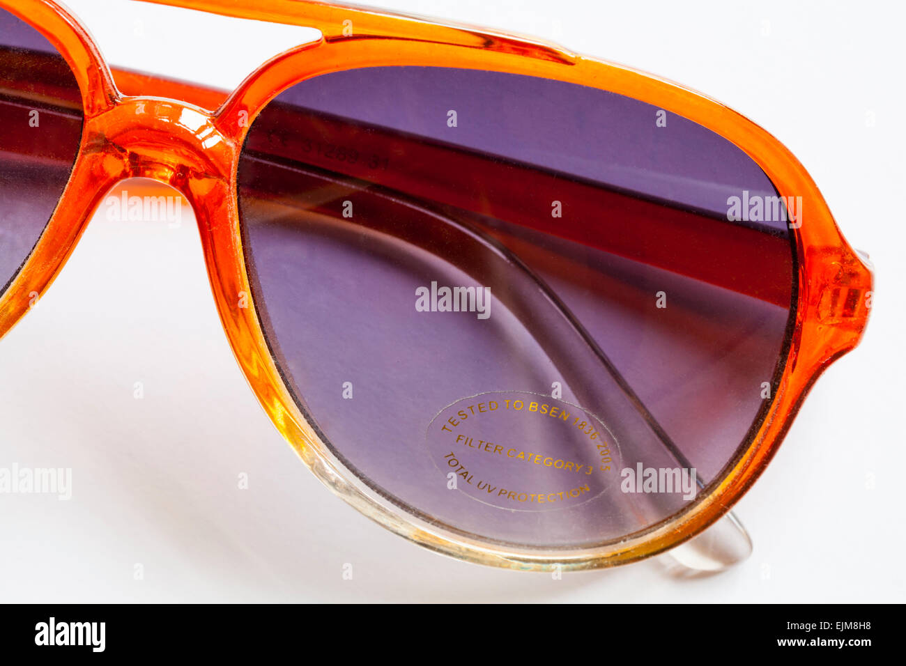 Sticker on sunglasses - tested to BSEN 1836 2005 Filter Category 3 Total UV Protection - Stock Image