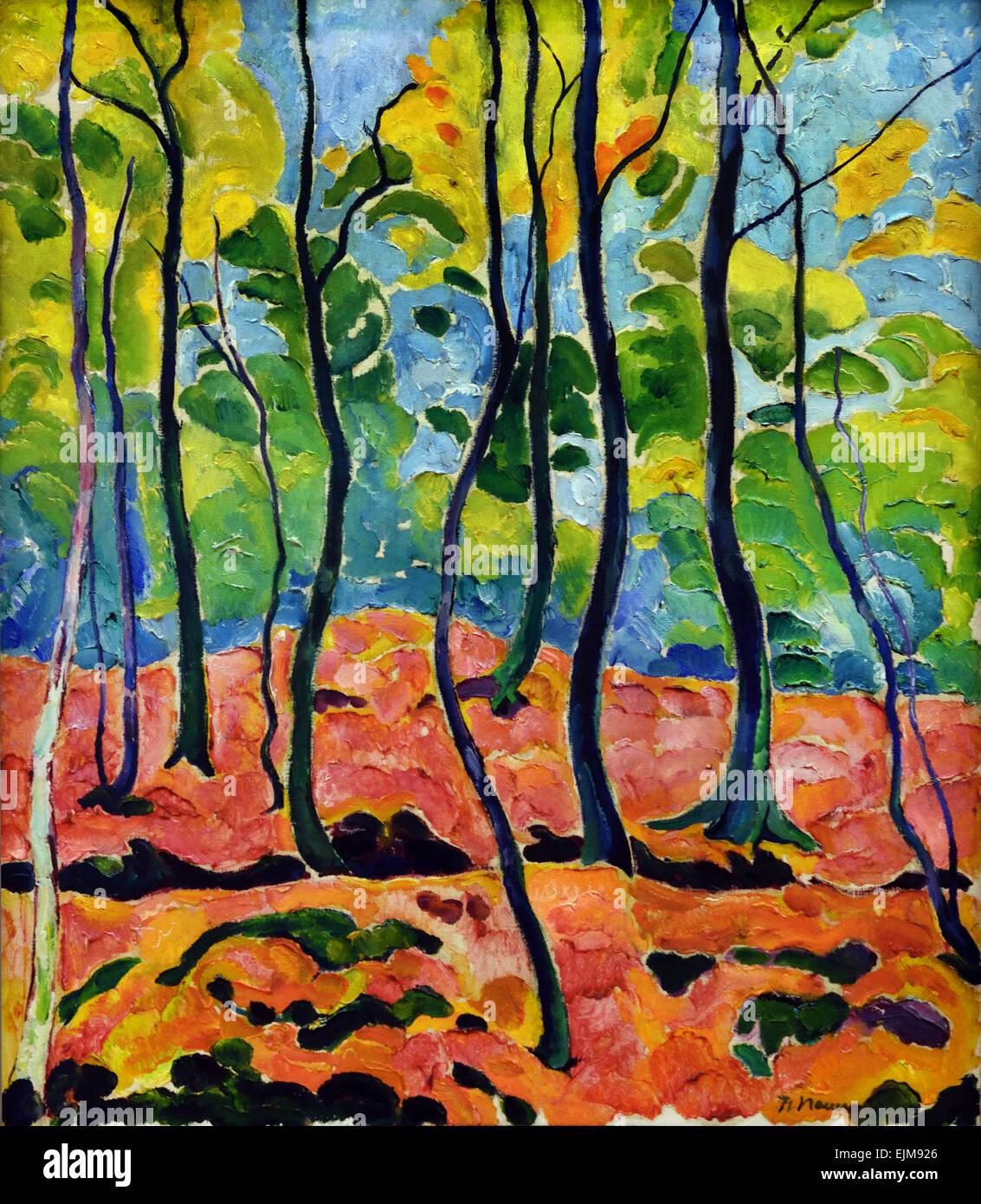 Herbstwald - Autumn Forest 1911 Heinrich Nauen 1880-1940 German Germany - Stock Image
