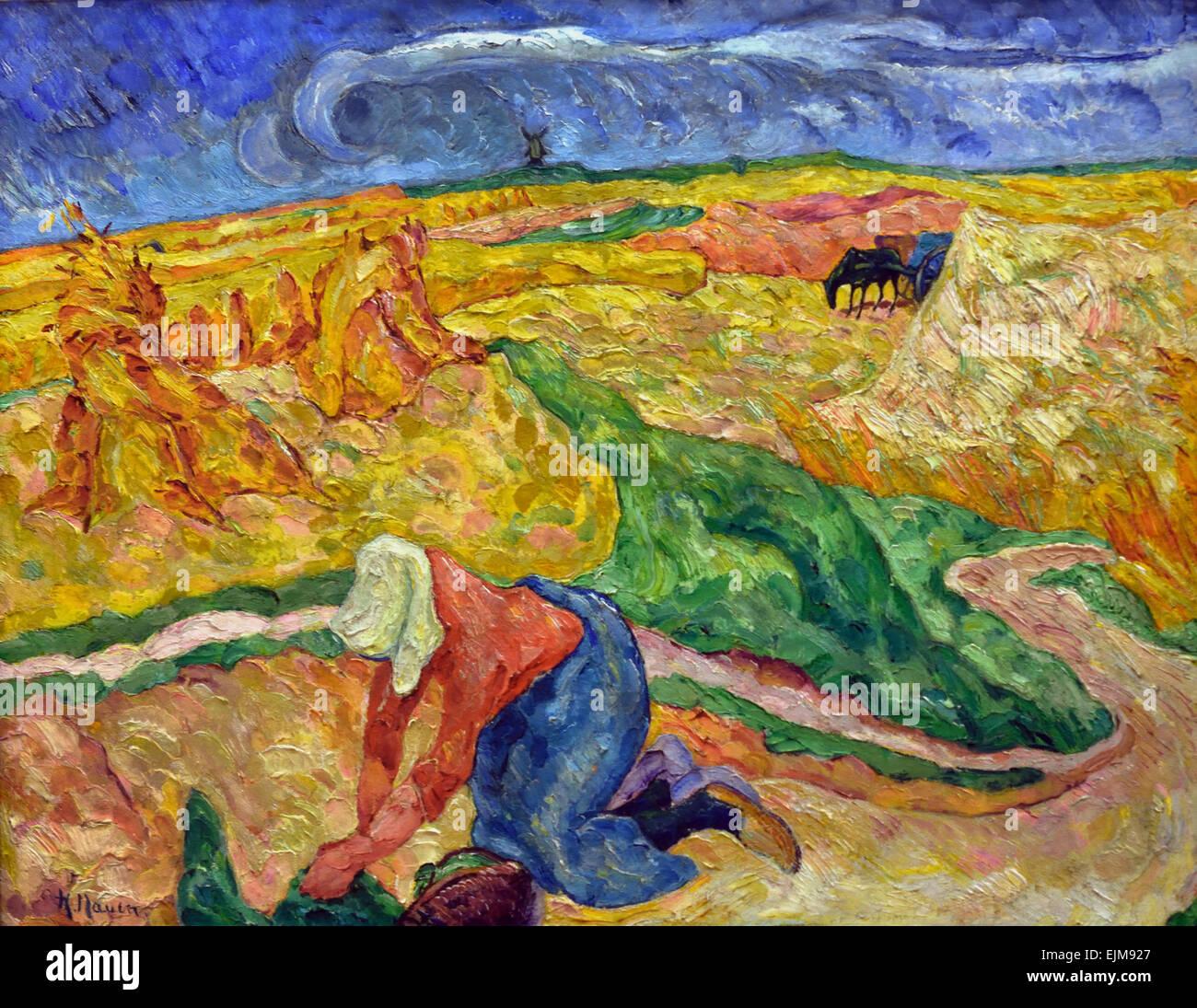 Ernte - harvest 1909 by  Heinrich Nauen 1880-1940 German Germany - Stock Image