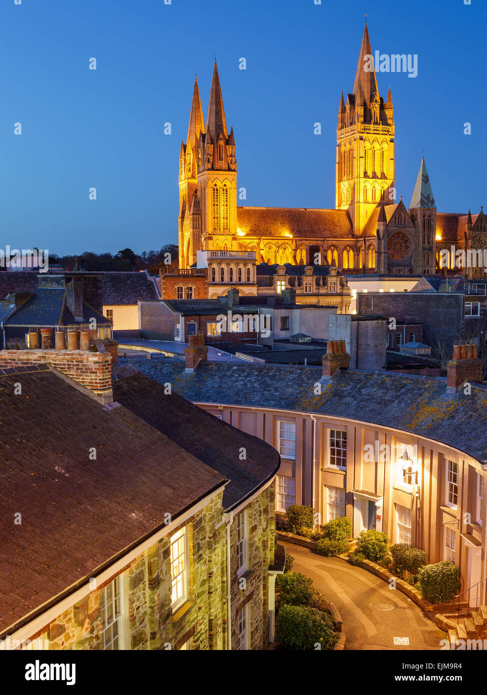 Rooftop view of Truro Cornwall England with the Cathedral illuminated at dusk - Stock Image