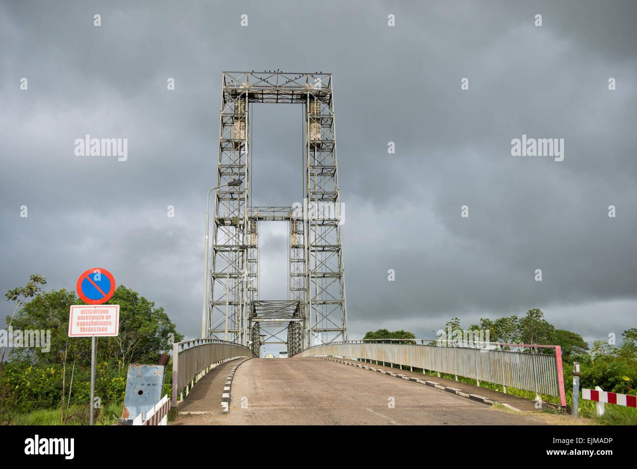 Bridge over the Nickerie River, Suriname - Stock Image
