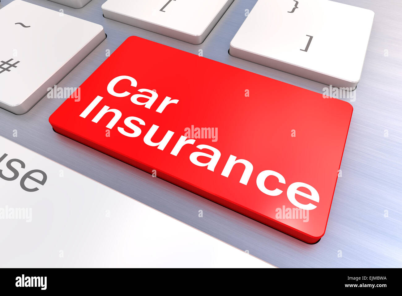 Computer keyboard rendered illustration with a Car Insurance Button Concept - Stock Image