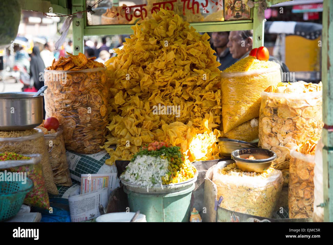 Snacks for sell Jodhpur market - Stock Image