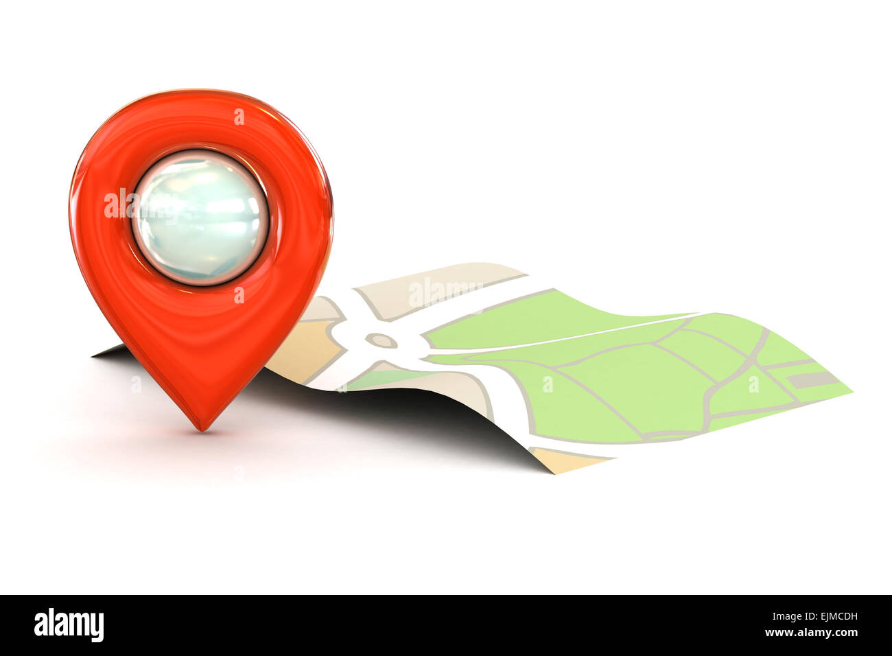 A Colourful 3d Rendered Map or GPS Marker Icon - Stock Image