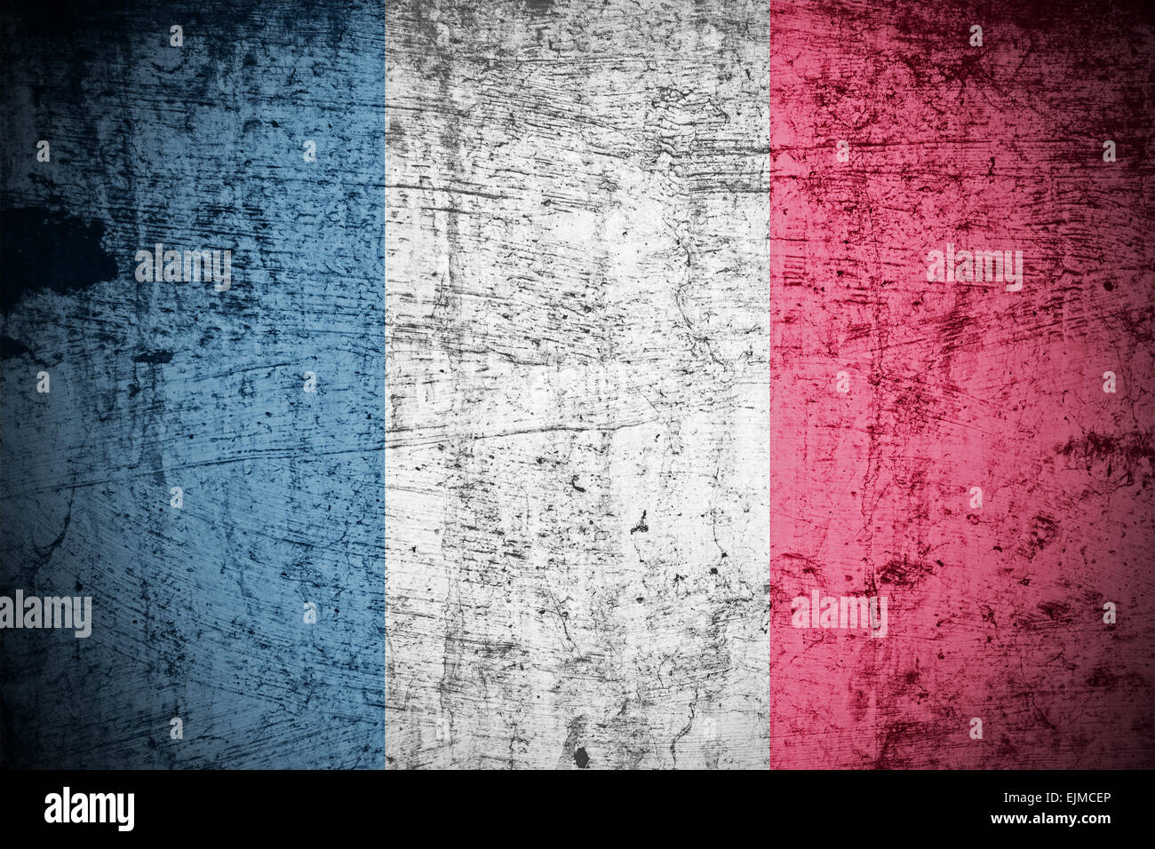 A Colourful Grunge style French Flag Illustration - Stock Image