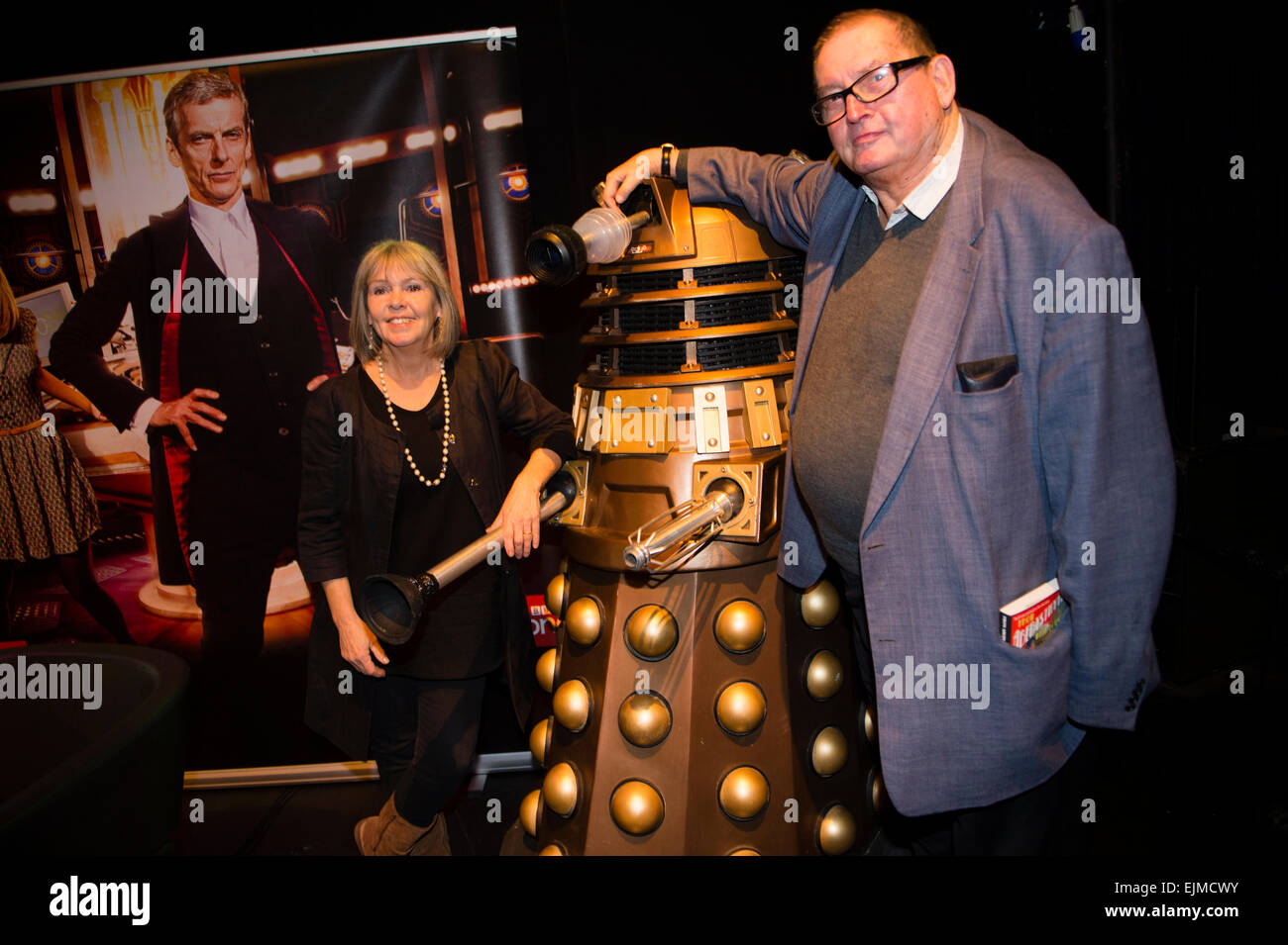 Dr Who Convention: Terrance Dicks, Writer and Script editor on Doctor Who and Wendy Padbury, who played the Doctor's - Stock Image