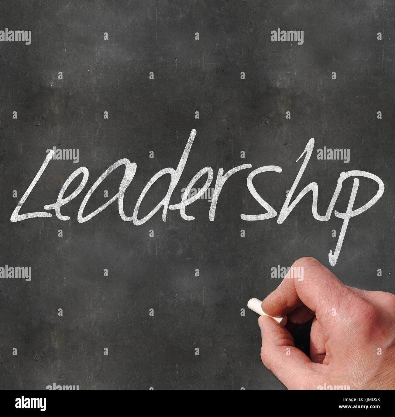 A Colourful 3d Rendered Concept Illustration showing Leadership written on a Blackboard - Stock Image