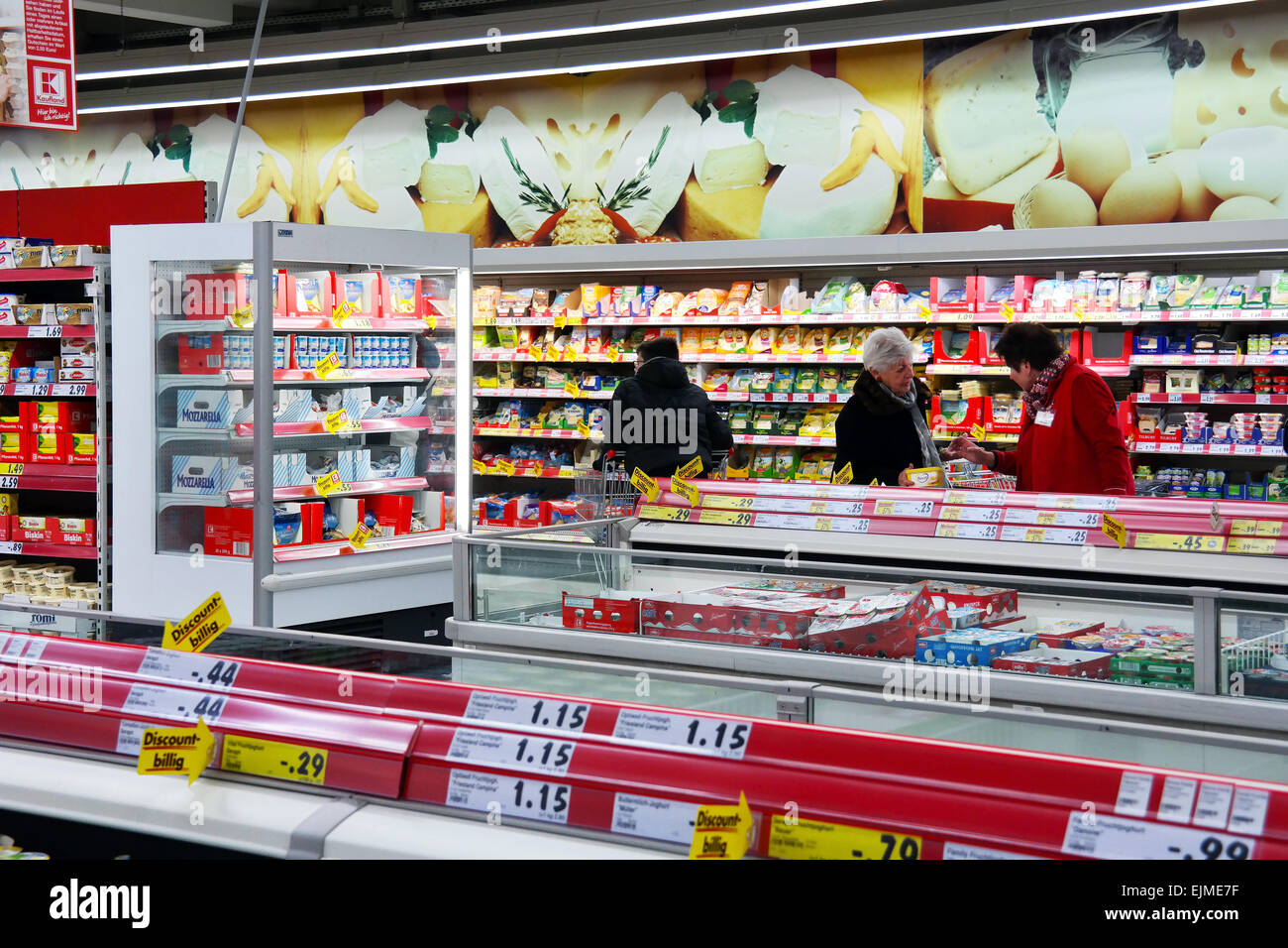 GERMANY - FEBRUARY 2015: Refrigerated department with chilled foodstuff in a Kaufland supermarket. - Stock Image