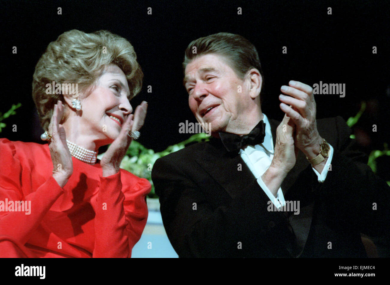 US President Ronald Reagan and First Lady Nancy Reagan during the Inaugural Ball at the DC Convention Center January - Stock Image