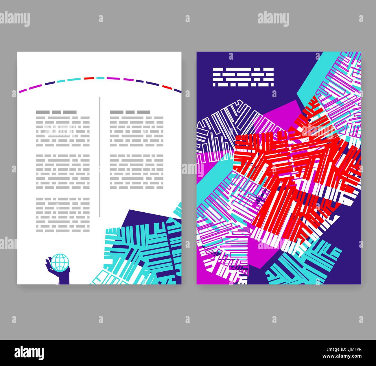 Flyer, leaflet, booklet layout. Editable design template. A4 2-fold ...