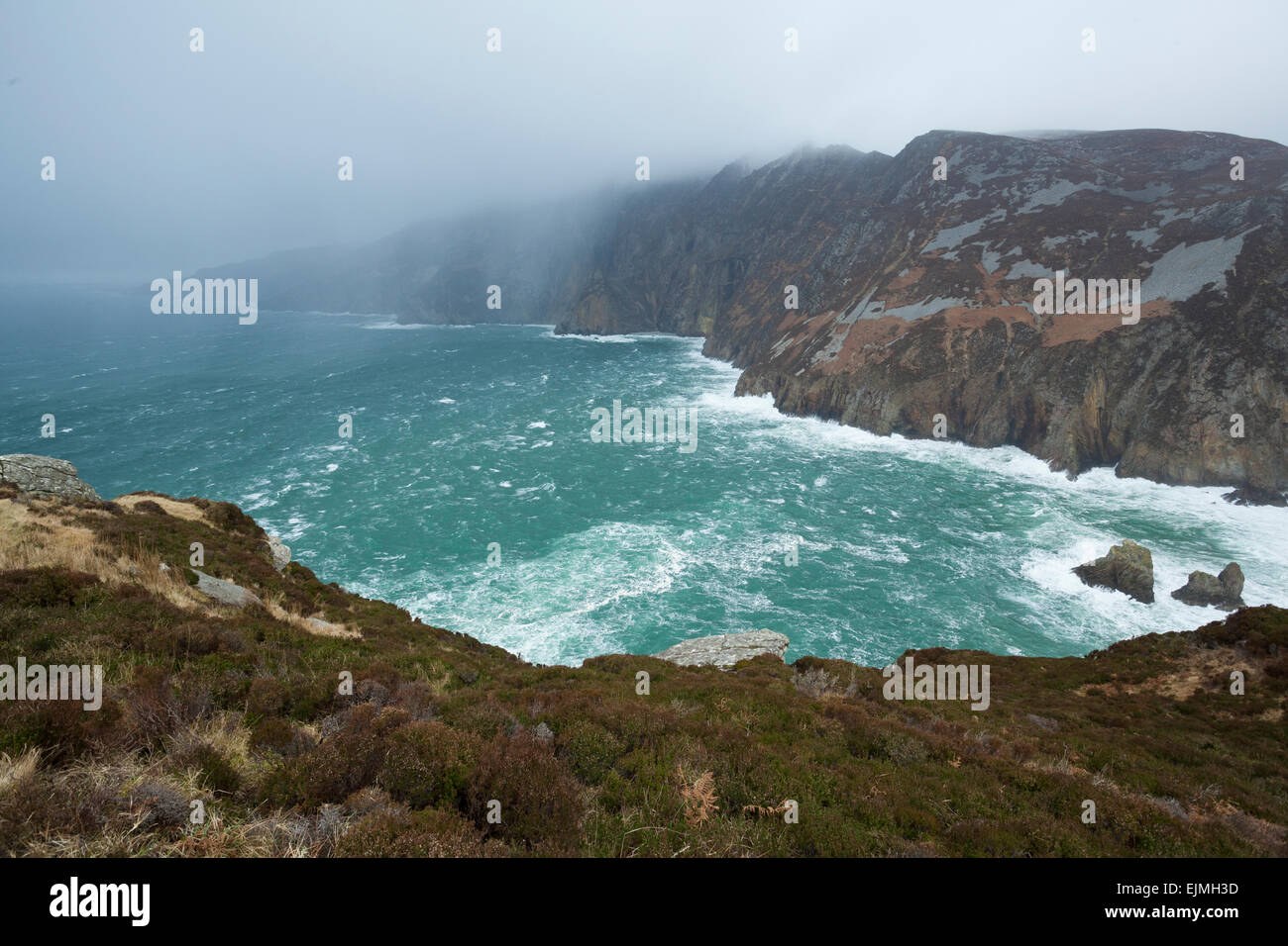 Rain approaching the Slieve League cliffs in Co. Donegal, in the northwest of Ireland - Stock Image
