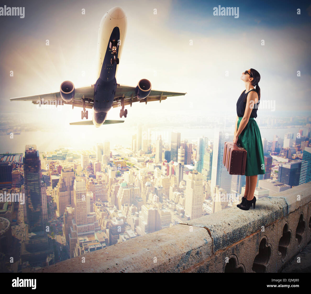 Tourists watch the takeoff - Stock Image