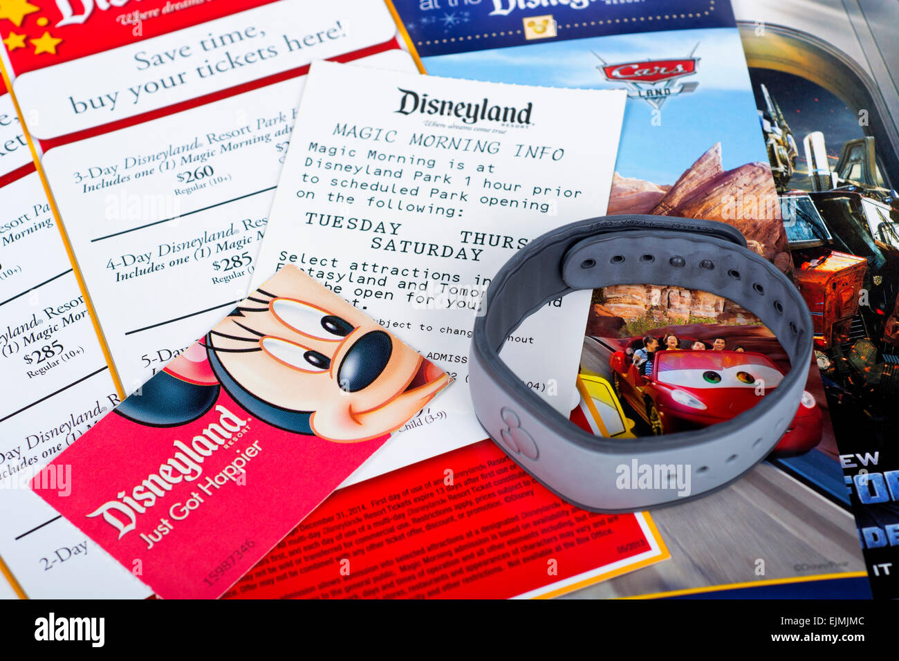 Tickets Disney World, Disneyland Wristband, Magic Morning, 3-Day Park Hopper Ticket - Stock Image
