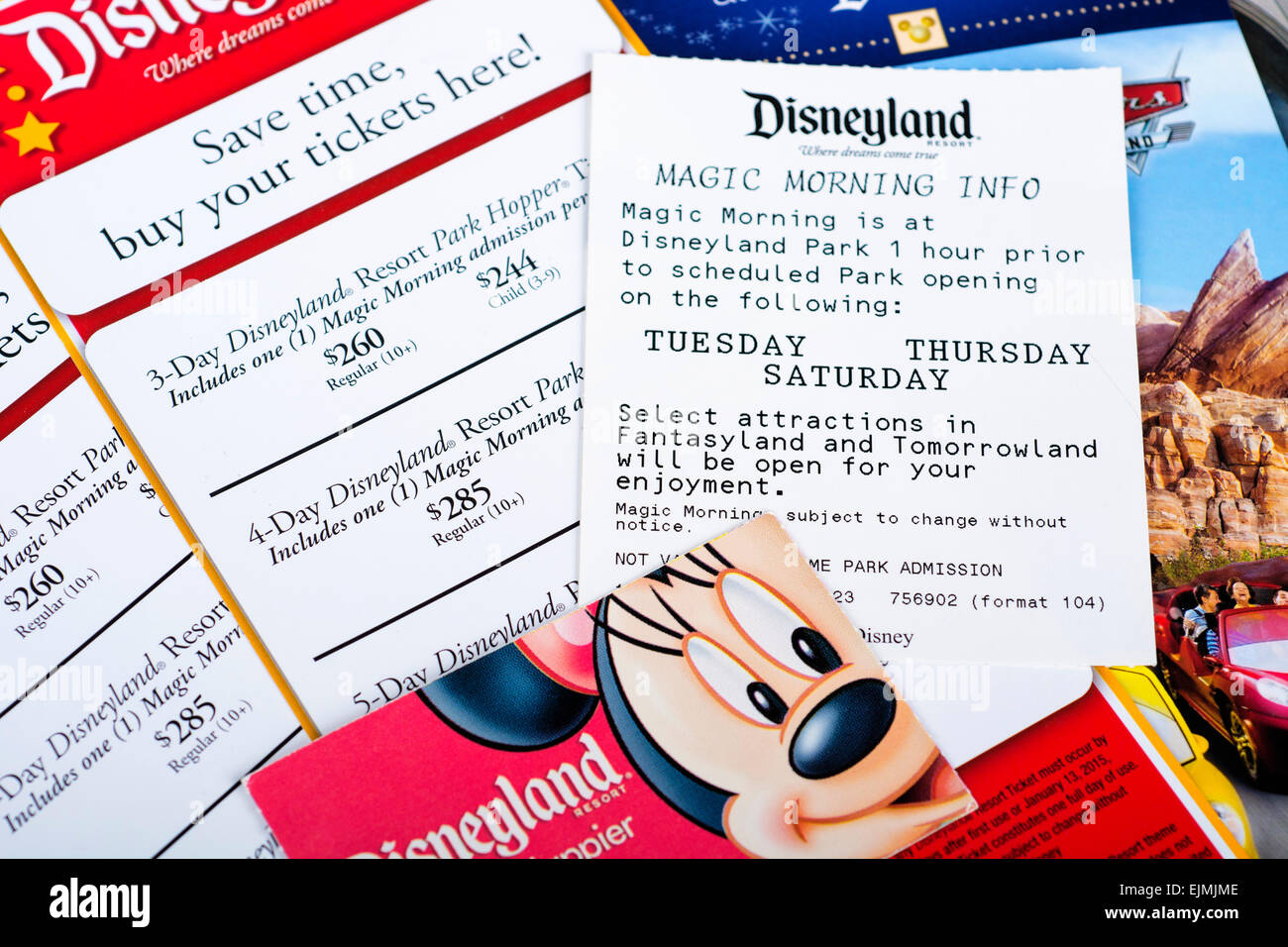 Tickets Disney, Magic Morning, 3-Day Hopper, Prices - Stock Image