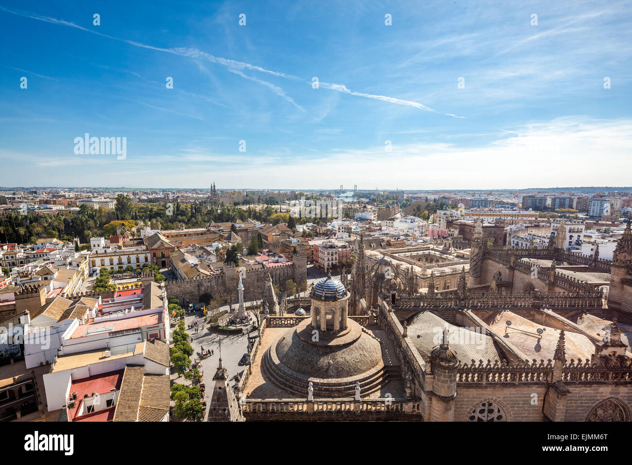 Seville city overlook from Giralda tower. Scenic Seville skyline view towards the south. Sevilla Spain. - Stock Image