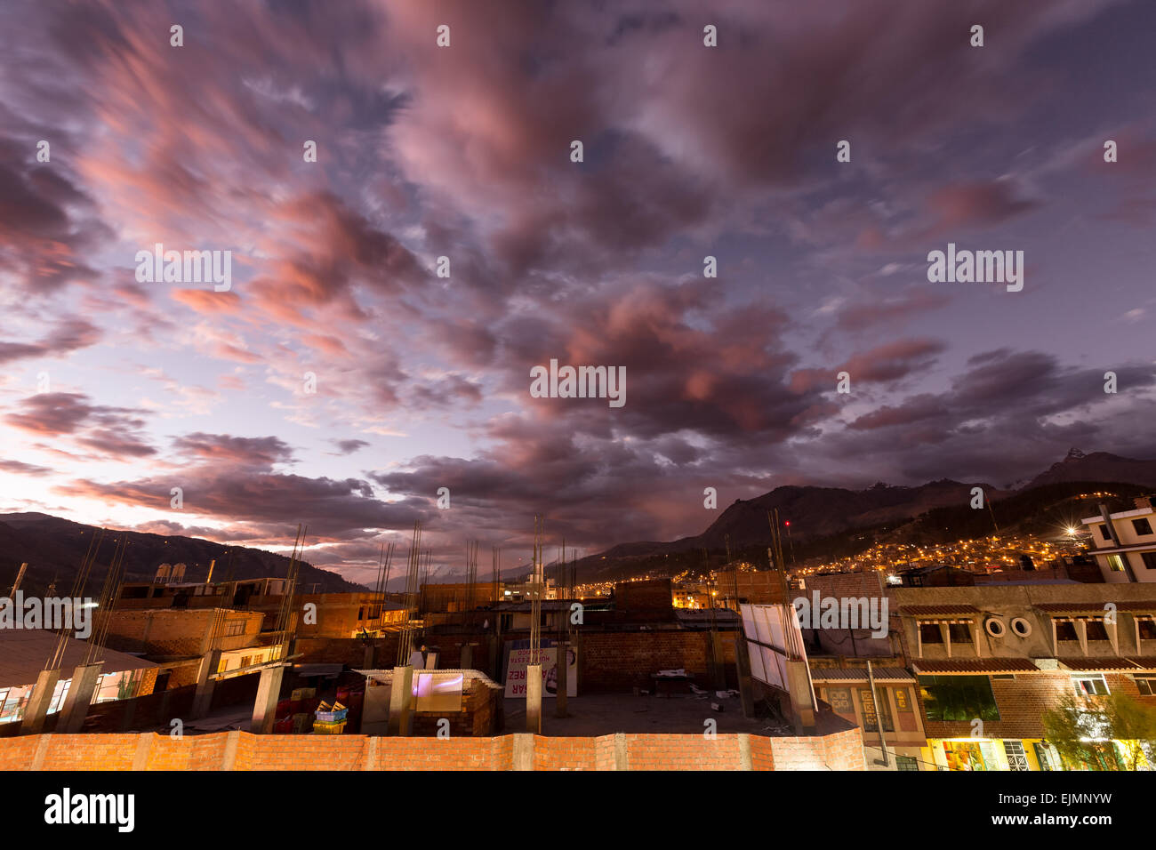 Twilight at Huaraz, Peru, Andes, South America - Stock Image