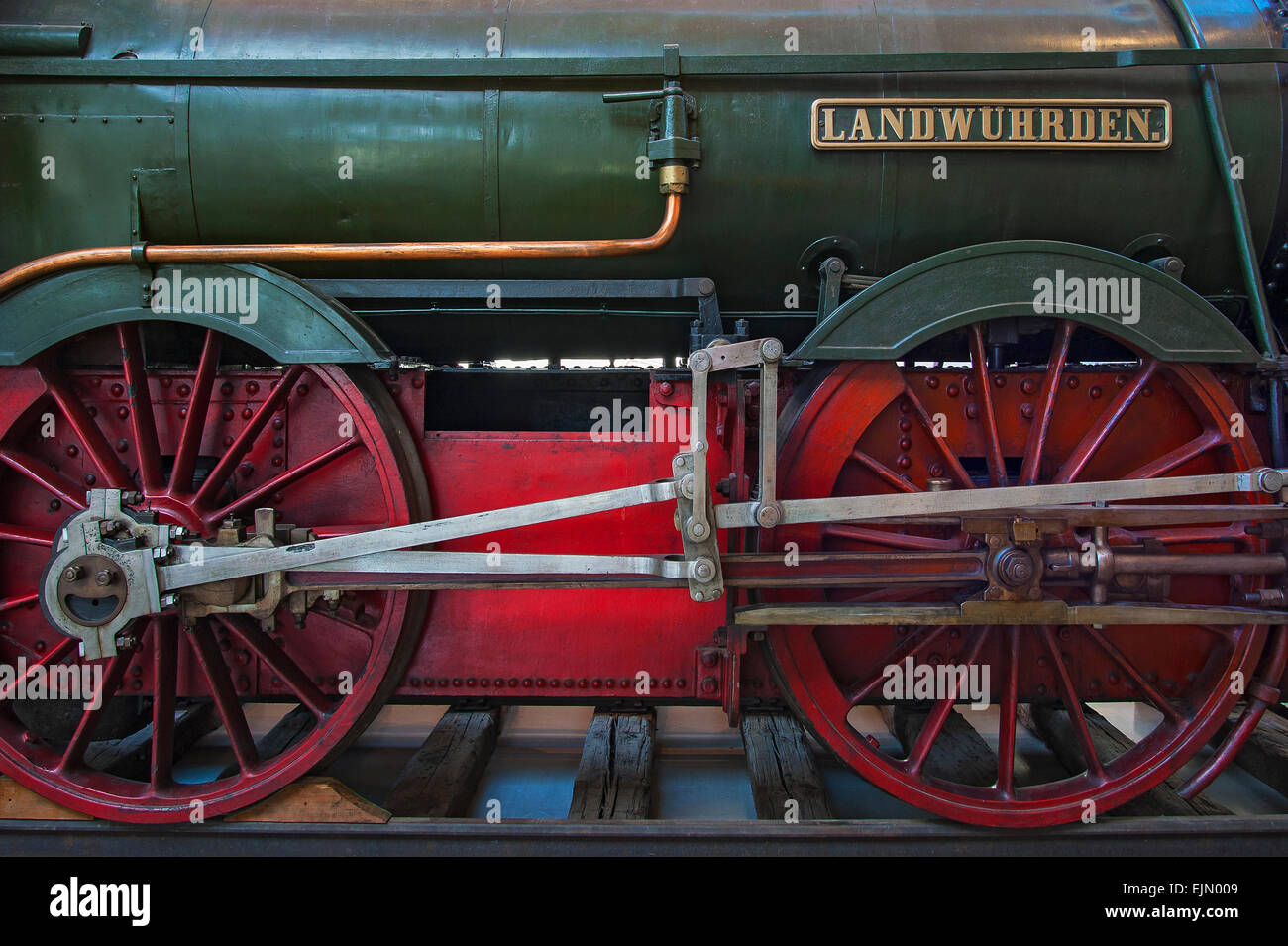 Wheels of the locomotive Landwührden by Krauss & Companie, 1867, Germany - Stock Image
