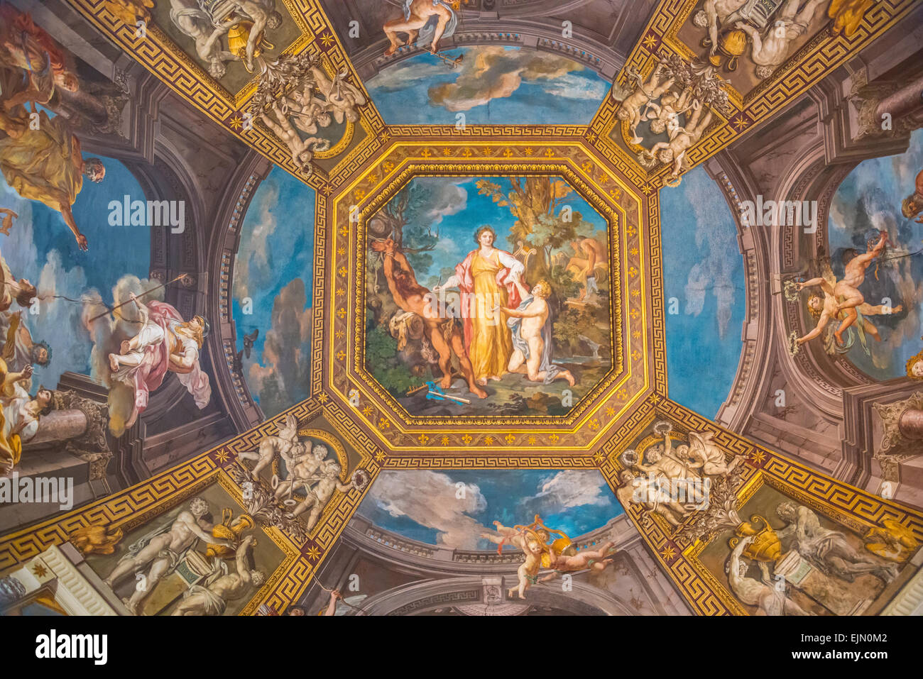 Ceiling fresco, Apollo and the Muses by Tommaso Conca, 1782-1787, Sala delle Muse, room of the Muses, Vatican Museums, - Stock Image