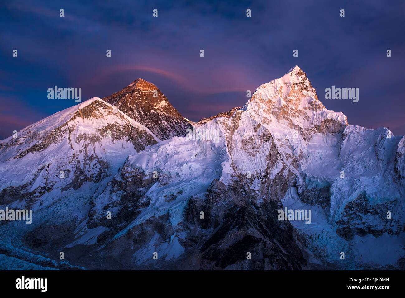 View at sundown from Kala Patthar on Mount Everest and Lhotse west flank, Chomolungma, Sagarmatha, Sagarmatha National - Stock Image